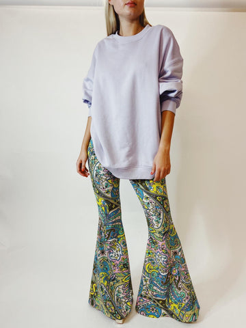 Yellow and Lilac Paisley Stretch Flares