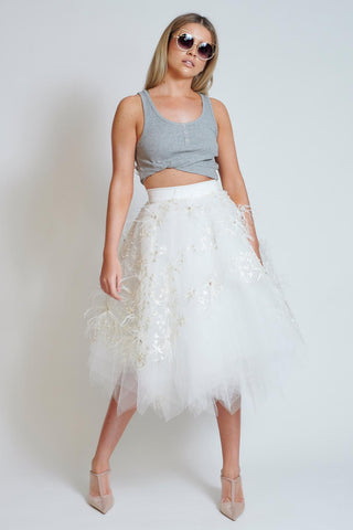 Ivory Pearl Star Choppy Tulle Skirt