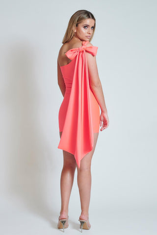 Flourecent One Shoulder Tie Dress