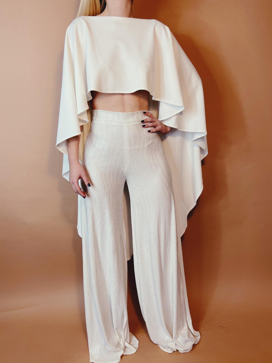Ivory Metallic Wide Leg Flares