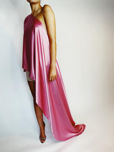 Pink Sheen Asymmetric Drape Dress