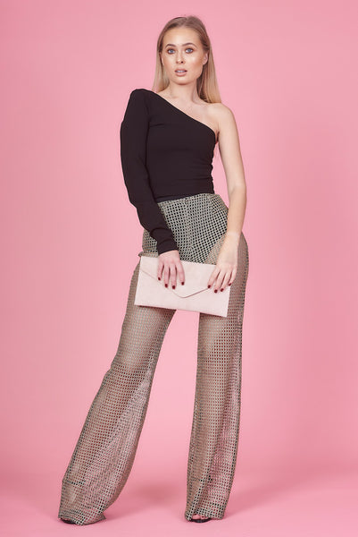 Gold Mesh Net High Waisted Flares