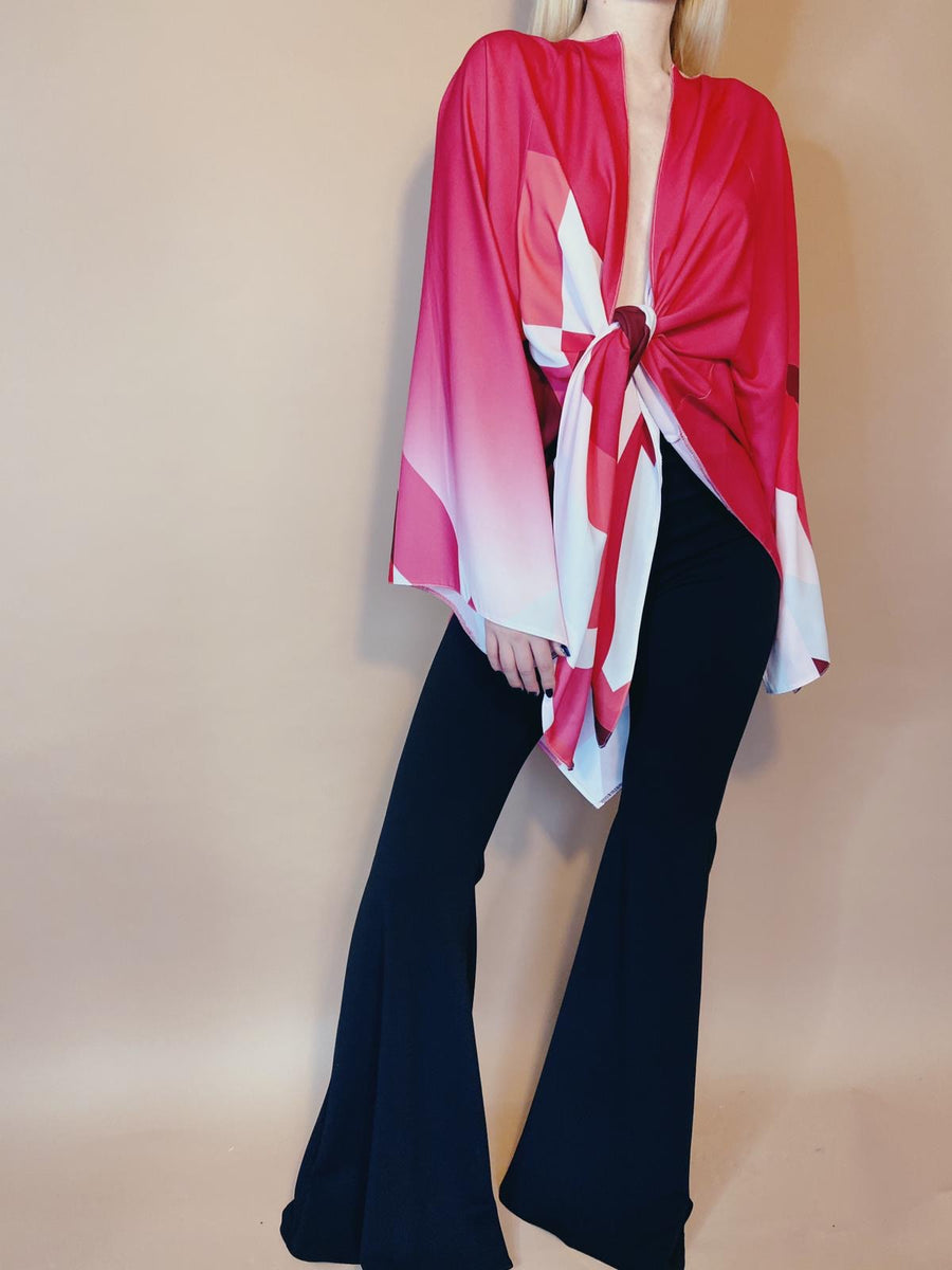 Red and Pink Patterned Kimono Tie Top