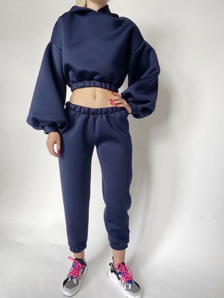 Navy Neoprene Cropped Lounge Set