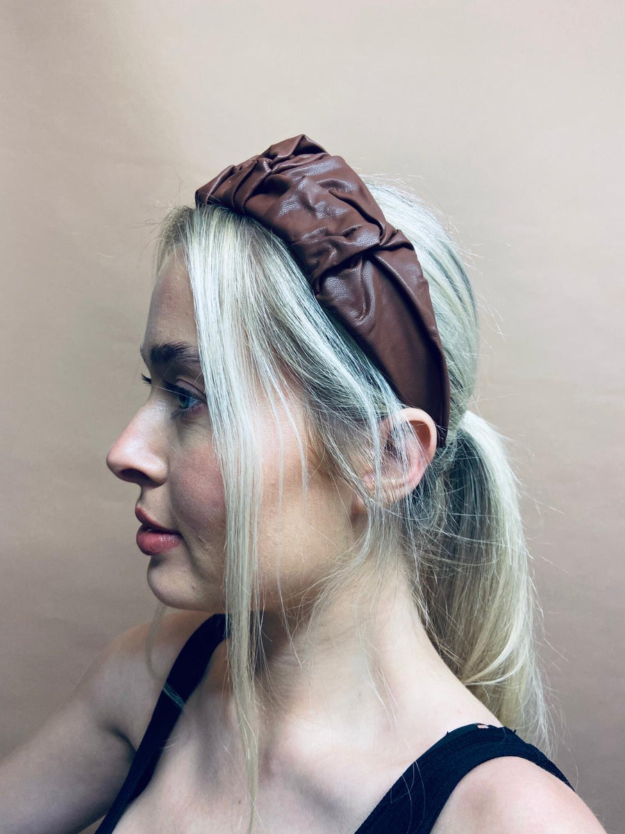 Chococlate Faux Leather Headband