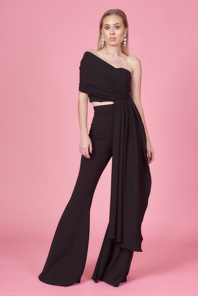 Black Draped Bandeau Top