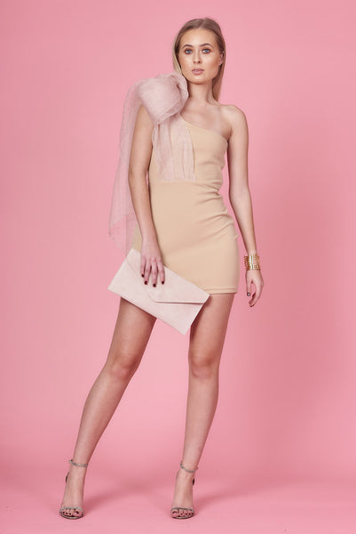 Nude Organza Drape Bodycon Dress