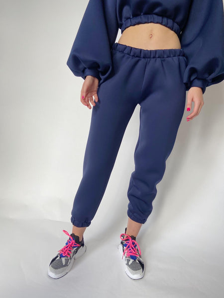 Navy Neoprene Low Rise Lounge Jogger