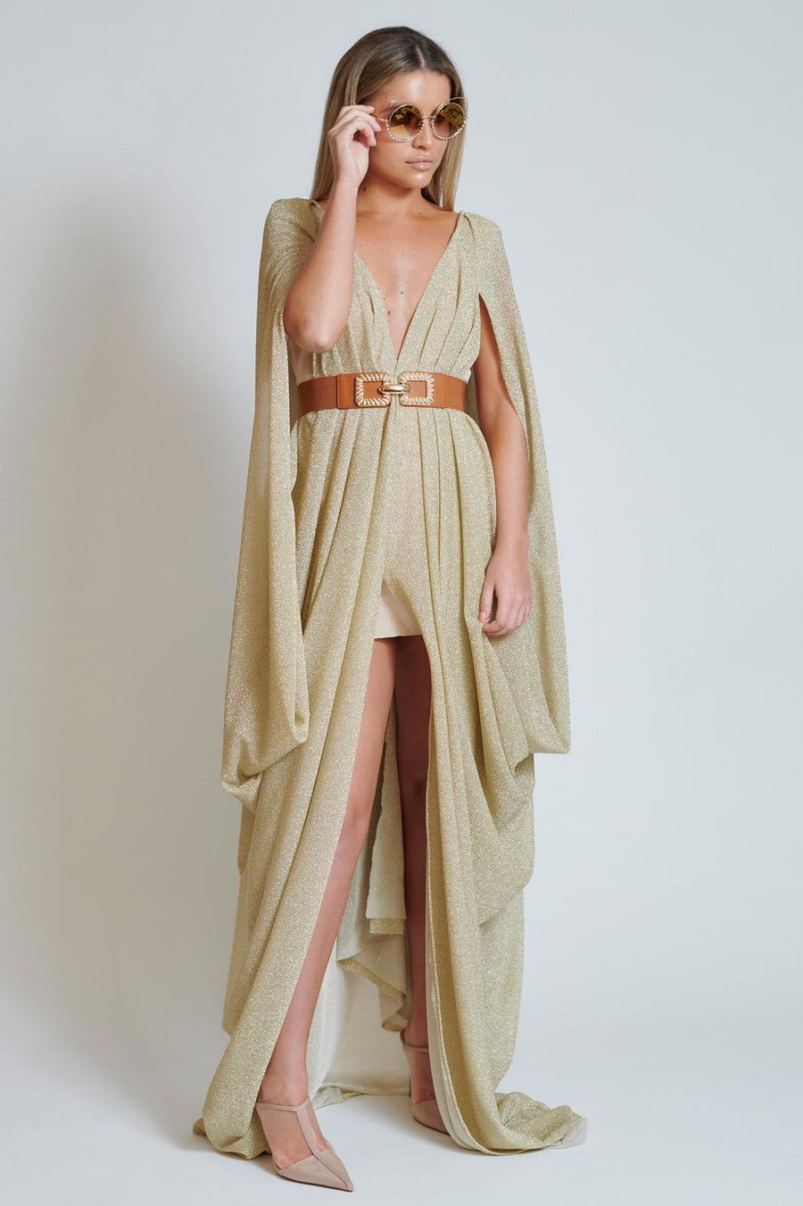 Gold Sparkle Split Front Drape Dress