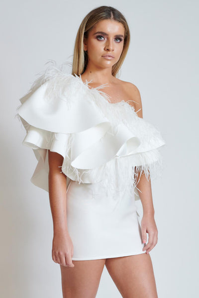 Ivory Feather Trim Ruffle Dress