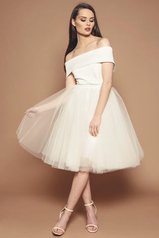 Ivory Holly Bridesmaid Dress - shorter sleeve