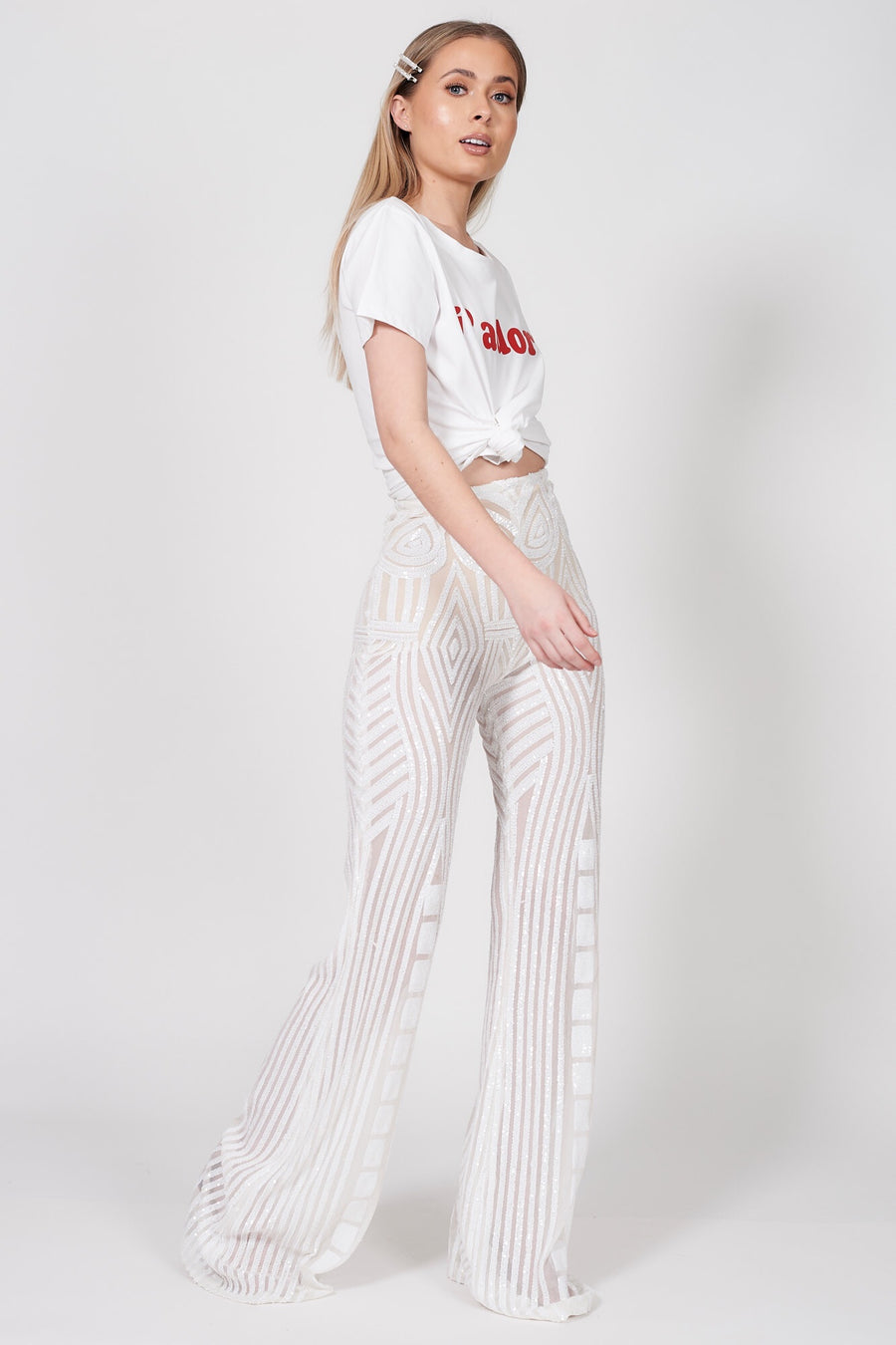 Ivory Baroque Sequin Flares