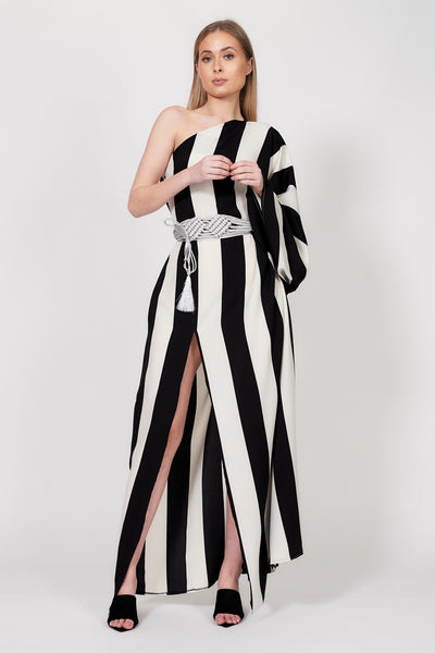 Nautical Stripe One Shoulder Dress
