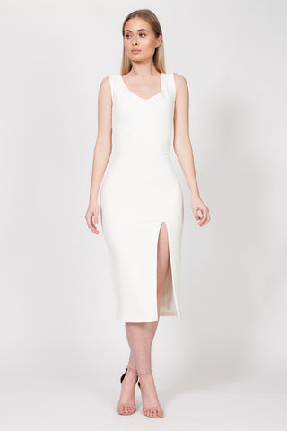Ivory Side Slit Midi Dress