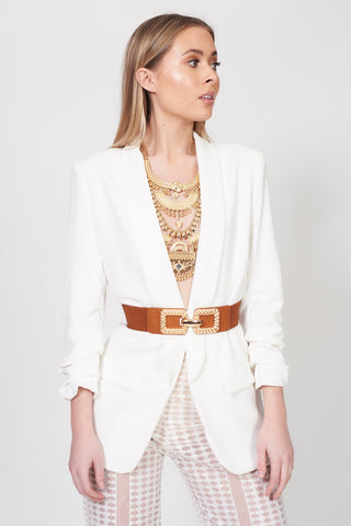 Tan Gold Buckle Detail Belt