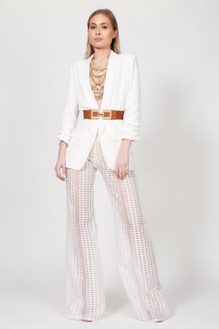 Ivory Crochet Flared Trousers