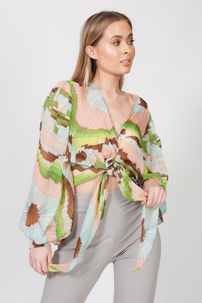 Green Geometric Print Bell Sleeve Top