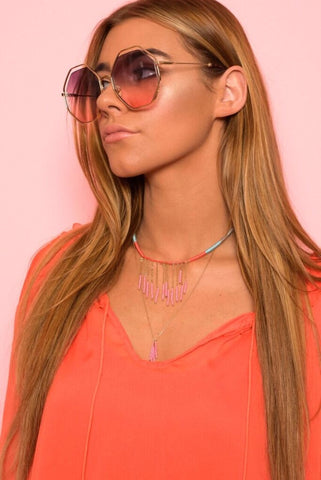 Pink Tinted Hexagon Sunglasses