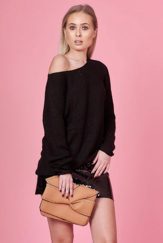 Black Knit Chenille Jumper