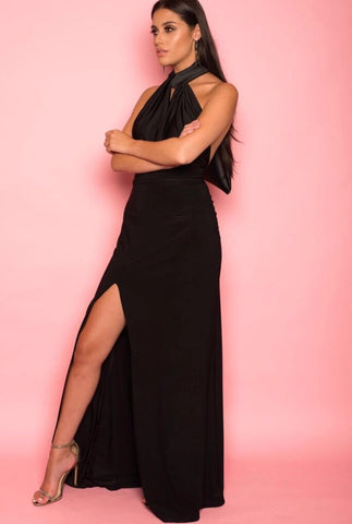 Black Fitted Halter-Tie Dress