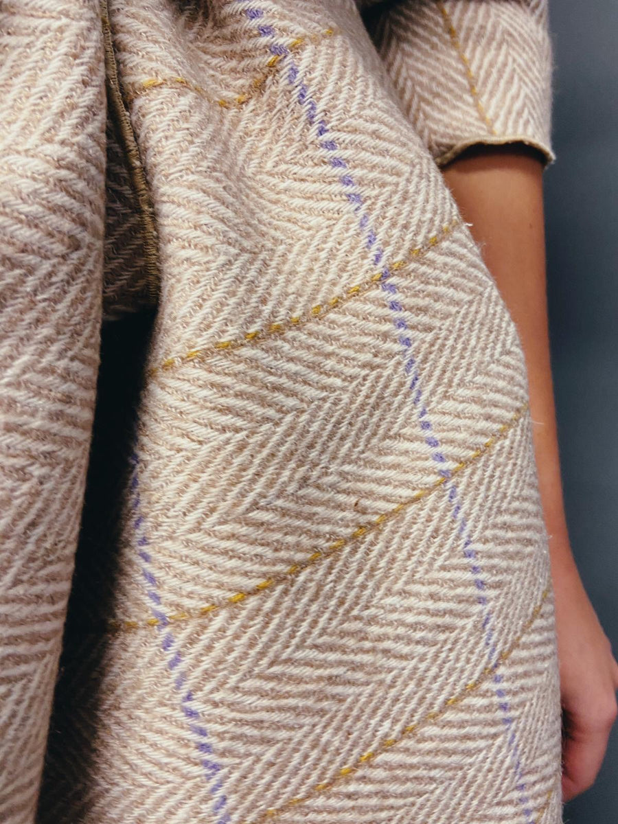 Beige Chevron Tweed Coatigan