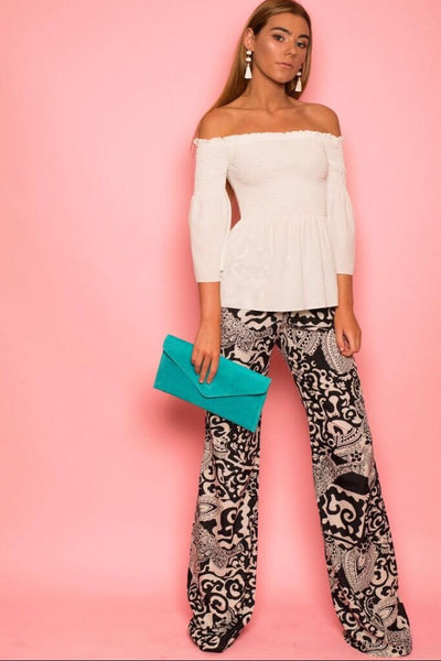 Black and White Henna Print Trousers