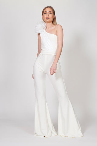 Ivory Organza Bow Jumpsuit