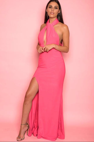 Pink Fitted Halter-Tie Dress