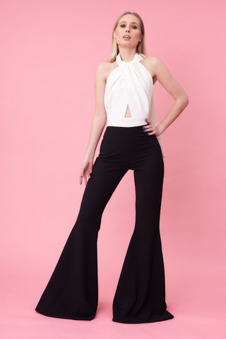 Monochrome Halter Neck Jumpsuit