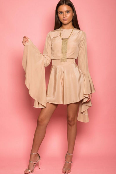 Nude Crepe Flared Sleeve Playsuit