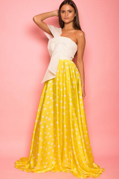 Yellow Polka Dot Silky Maxi Skirt