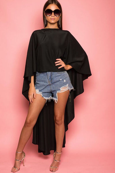 Black Long Crepe Cape