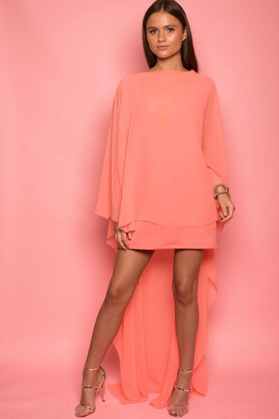 Coral Chiffon Draped Cape Dress