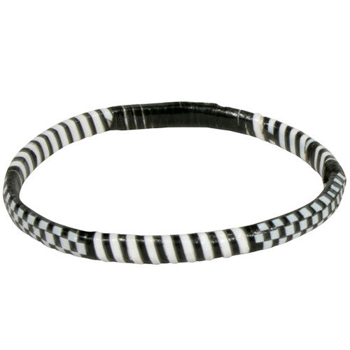 Recycled Black & White Narrow Plastic Bracelets from Burkina faso