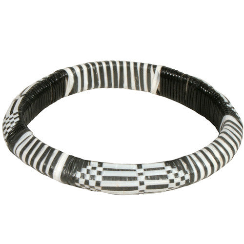 Recycled Black & White Wide Plastic Bracelets from Burkina faso