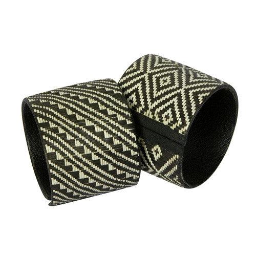 Extra Large Black & White Bracelet from Colombia - Green Valley Packaging