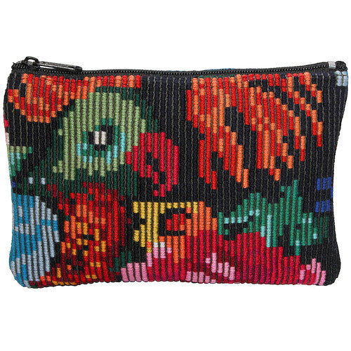 Floral Huipil Zippered Pouch from Guatemala - Green Valley Packaging