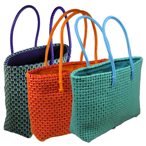 Recycled Plastic Totes Bright Colors from India