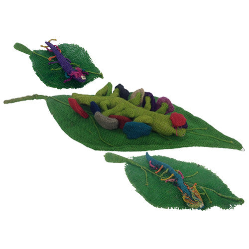 Jute Worm on a Leaf Figurines from Bolivia - Green Valley Packaging