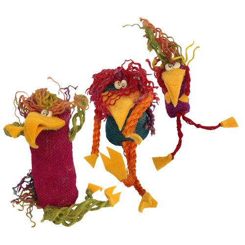 Jute Crazy Bird Figurines from Bolivia - Green Valley Packaging