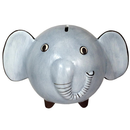 Blue Ceramic Elephant Bank from Peru - Green Valley Packaging