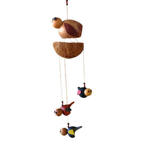 Baby Birds Fledge Nest Gourd Mobile from Colombia - Green Valley Packaging