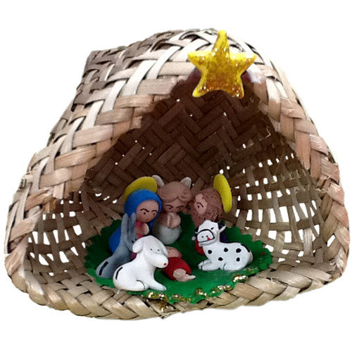 Basket Nativity with Marzipan Figurines from Ecuador - Green Valley Packaging