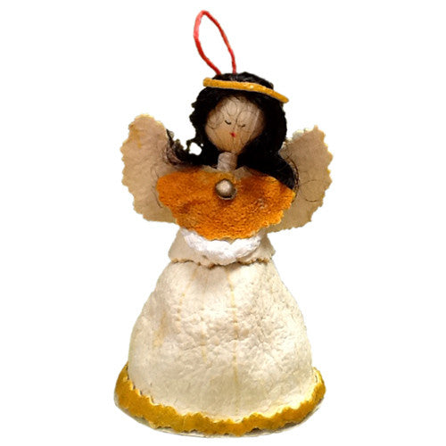 Orange Piel Angel Ornament from Ecuador - Green Valley Packaging