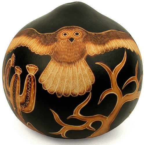 Owl Decorative Gourd in Black from Peru - Green Valley Packaging