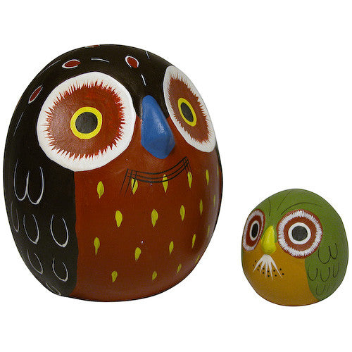 Ceramic Owl Bank with Baby from Peru - Green Valley Packaging