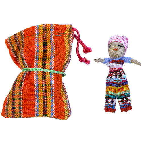 Large Worry Doll with Bag from Guatemala - Green Valley Packaging
