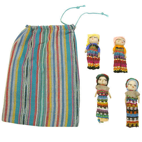 Four Worry Dolls in Bag from Guatemala - Green Valley Packaging