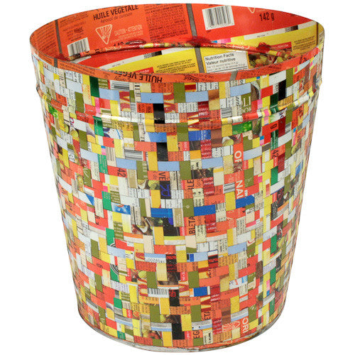 Recycled Metal Wastebasket from India