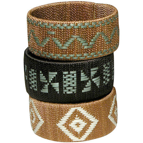 Wide Colored Cana Flecha & Cotton Bracelet from Colombia